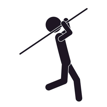 athleticism: monochrome silhouette with gymnast launch Javelin vector illustration vector illustration