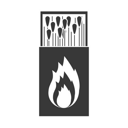 matchbox: monochrome silhouette of matchbox with   flame vector illustration Illustration