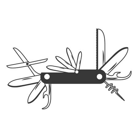 monochrome silhouette with utility knife vector illustration