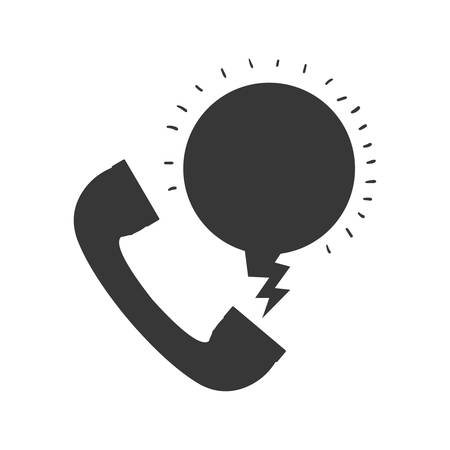 parley: monochrome silhouette with telephone calling message vector illustration Illustration