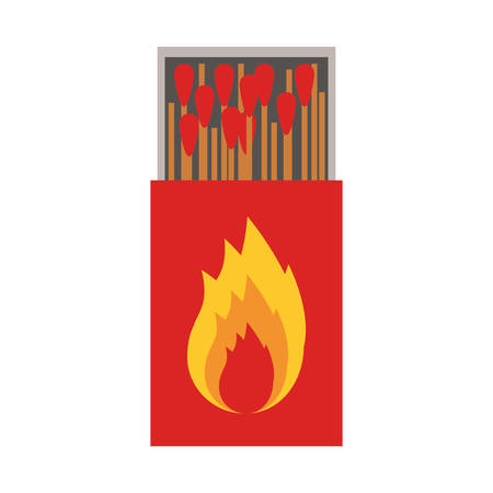 matchbox: colorful silhouette of matchbox with   flame vector illustration Illustration