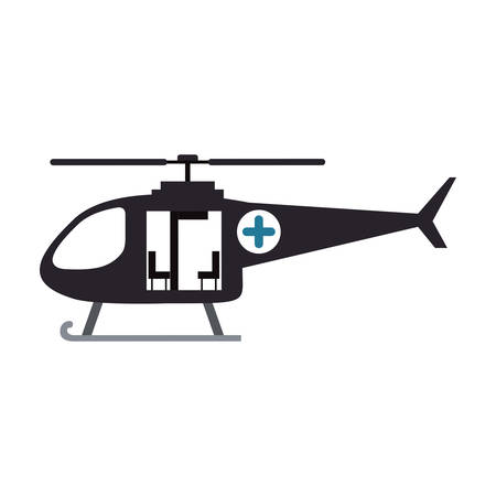 salvaging: color silhouette with rescue helicopter vector illustration