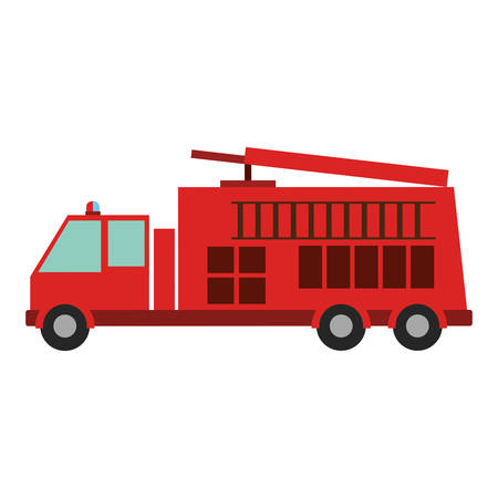 emergency stair: color silhouette with fire truck vector illustration