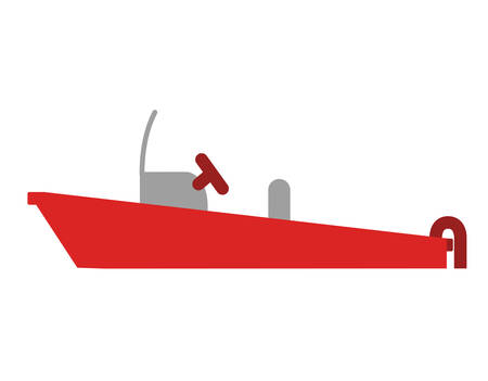 color silhouette with rescue boat vector illustration