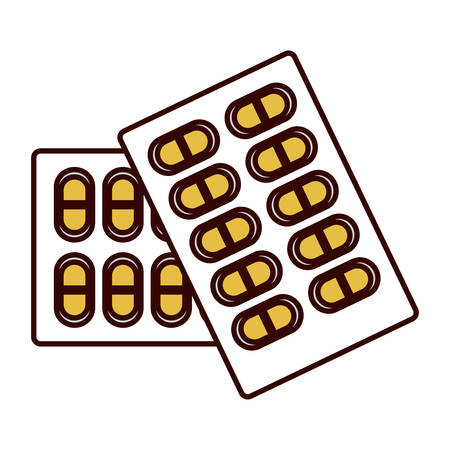 color silhouette blisterpack with pills yellow vector illustration Illustration