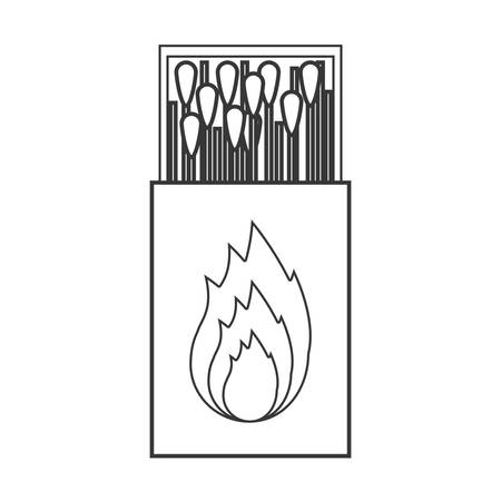 matchbox: contour silhouette of matchbox with   flame vector illustration Illustration