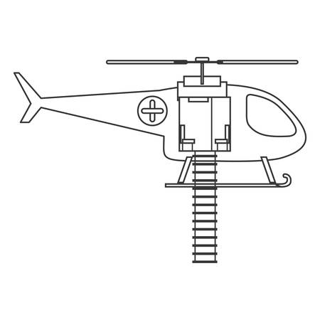 emergency stair: contour silhouette with rescue helicopter vector illustration