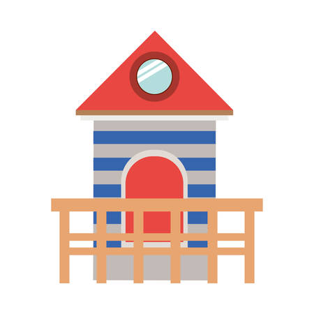 life guard stand: full color with lifeguard stand tower vector illustration Illustration