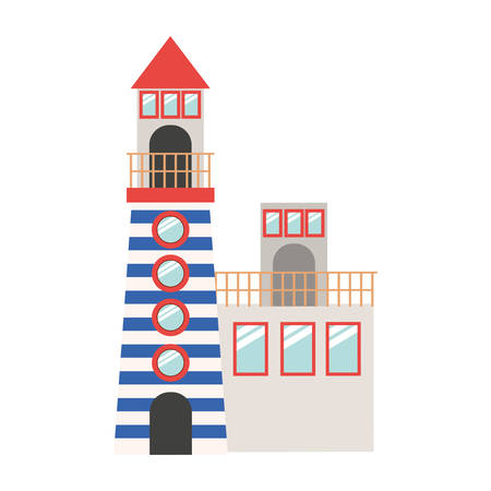 coast guard: full color with Tower of Lighthouse and rescue operations center vector illustration