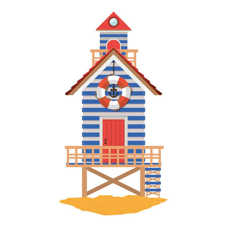 full color with lifeguard stand over sand vector illustration Illustration