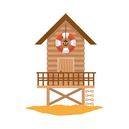 life guard stand: full color with lifeguard stand of wooden over sand vector illustration