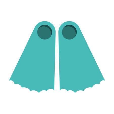 fins: full color with diving fins vector illustration Illustration