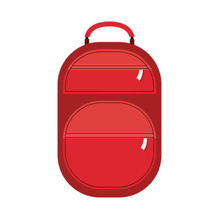 handgrip: full color suitcase with pockets with zipper vector illustration