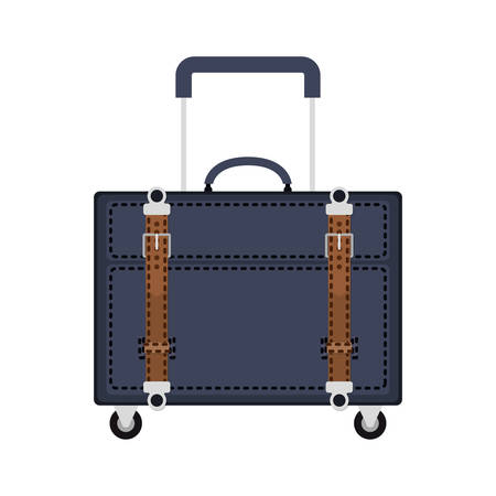 handgrip: full color with travel suitcase blue with wheels and handle vector illustration Illustration