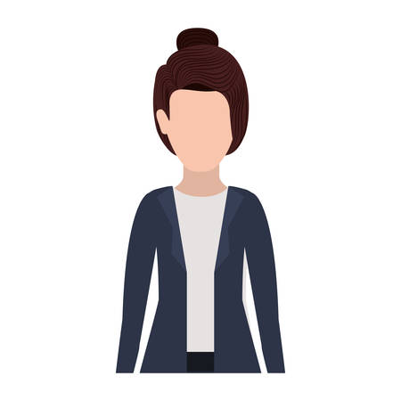 collected: half body silhouette executive woman with collected hair vector illustration Illustration