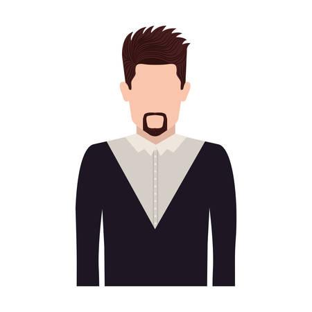 tunic: half body silhouette man with van Dyke beard