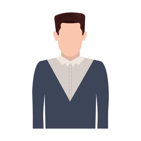 straight man: half body silhouette man with hair straight vector illustration