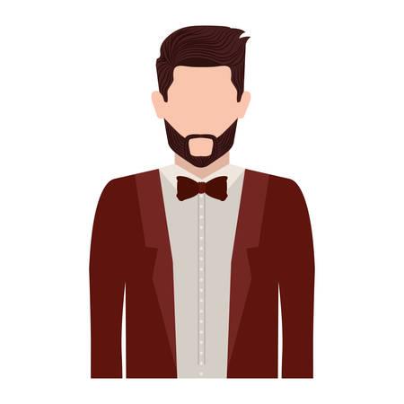 tunic: half body silhouette man with bowtie vector illustration