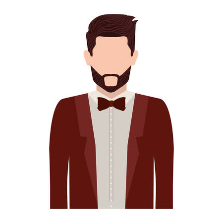 half body silhouette man with bowtie vector illustration