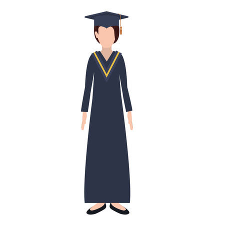 footwear: silhouette woman with graduation outfit vector illustration