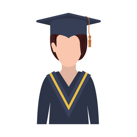 half body woman with graduation outfit vector illustration