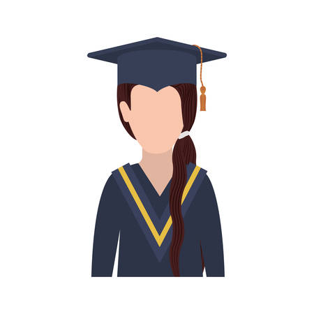 ponytail: half body woman with graduation outfit and ponytail hair vector illustration