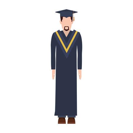 zapatos escolares: hombre de silueta con traje de graduación con ilustración de vector de barba corta