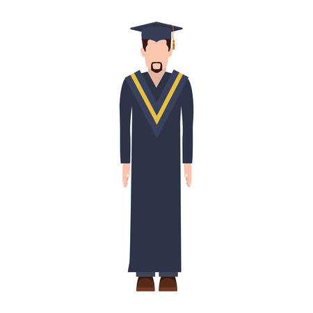 silhouette man with graduation outfit with short beard vector illustration