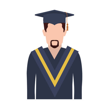 tunic: half body man with graduation outfit with short beard vector illustration