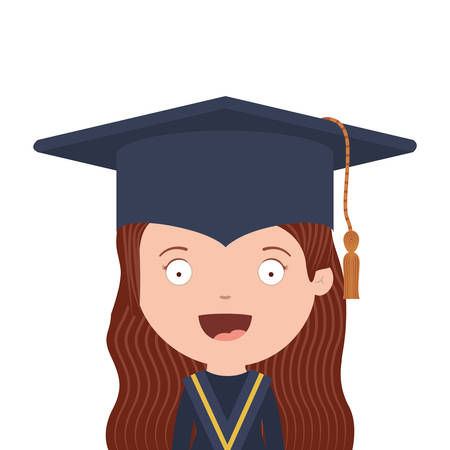half body avatar girl with graduation outfit vector illustration