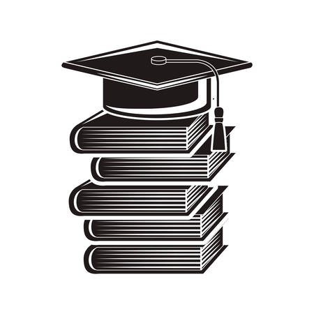 black silhouette graduation cap with stacked books vector illustration