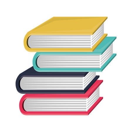 colorful and irregular stacked books vector illustration