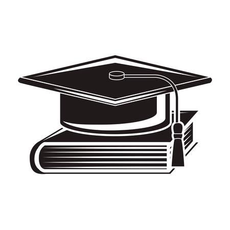 book vector: black silhouette graduation cap with book vector illustration