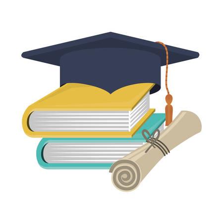 casquillo de la graduación de la silueta con certificado y libros de ilustración vectorial