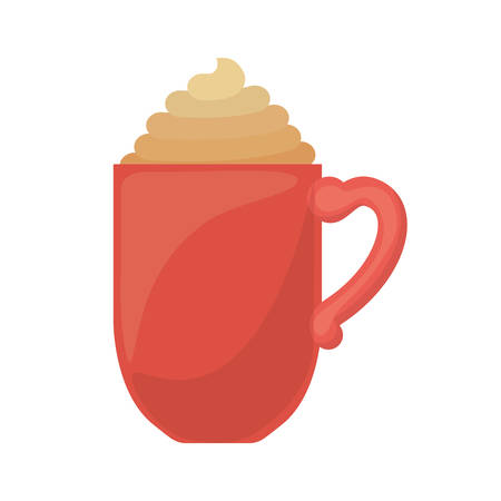 Red cup of cappuccino with cream vector illustration