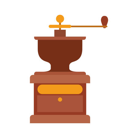 grinding: coffee grinding machine with crank vector illustration