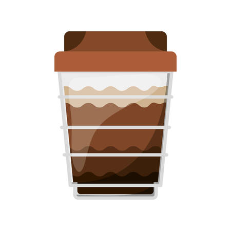cappucino: glass disposable for cappucino with lid vector illustration