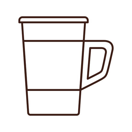 mug shot: silhouette glass disposable for drinks with handle vector illustration