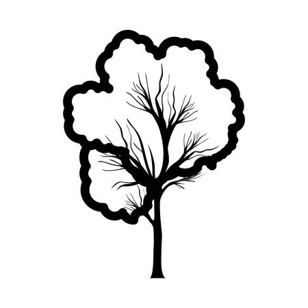 monochrome contour tree trunk with foliage shape cloud vector illustration