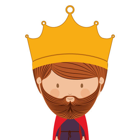 body jewelry: colorful half body king with crown and beard vector illustration