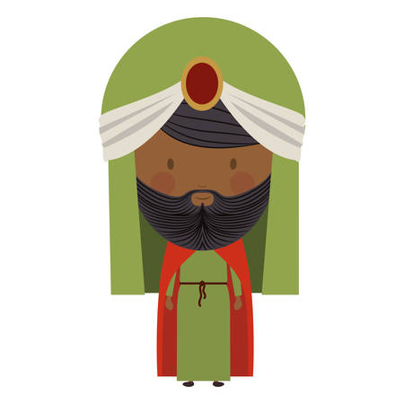 turban: colorful arabic man with turban and beard vector illustration Illustration