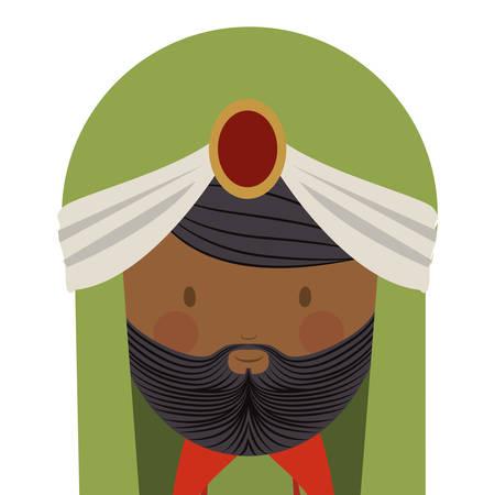 turban: colorful arabic man head with turban and beard vector illustration Illustration