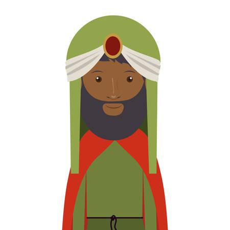 turban: colorful arabic man half body with turban and beard vector illustration