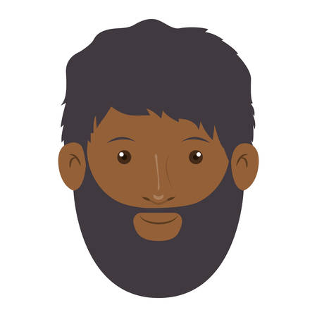 turban: colorful arabic man head without turban and beard vector illustration Illustration