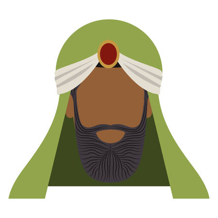 turban: colorful arabic man head with turban and beard without a face vector illustration Illustration