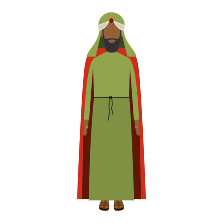 turban: colorful arabic man with turban and beard without a face vector illustration Illustration