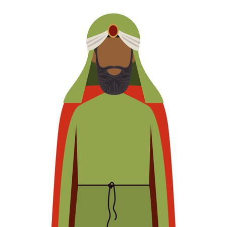 turban: colorful arabic man half body with turban and beard without a face vector illustration
