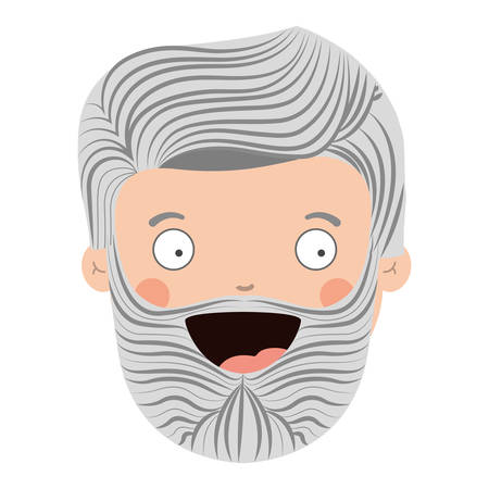 colorful old man head with beard and smiling face vector illustration