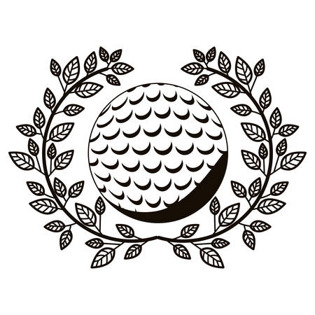 gray scale half crown of olive branch with golf ball vector illustration