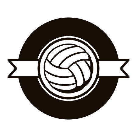 gray scale emblem with volleyball ball and ribbon in middle vector illustration